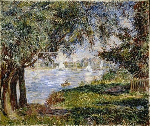 Auguste Renoir: Blick durch Bäume auf Segelboote in Bougival.