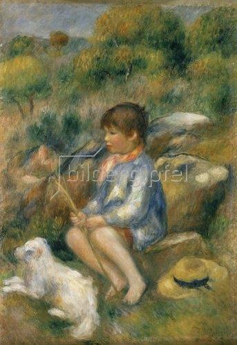 Auguste Renoir: Junge mit seinem kleinen Hund an einem Bachufer. 1890