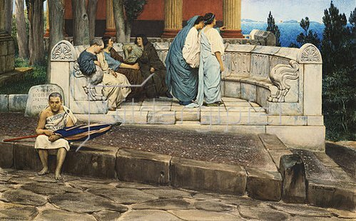 Sir Lawrence Alma-Tadema: Exedra, Rundbank an einem römischen Haus. 1871