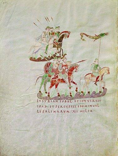 Handschrift: Ausreitende Krieger. Codex 22, Psalterium Aureum.