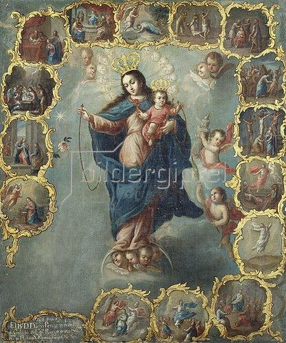 Miguel Umkreis Cabrera: Immaculata im Rosenkranz.