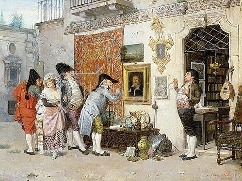 Francisco Peralta del Campo: Beim Antiquitätenhändler (El Anticuario). 1872
