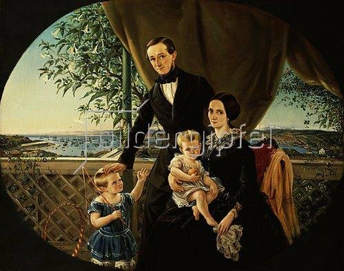 Otto Grashof: Familie auf der Terrasse über Valparaiso 1854.