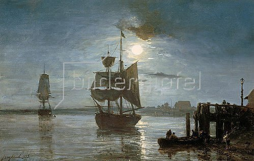 Johan Barthold Jongkind: Segelschiff bei Vollmond. 1893.