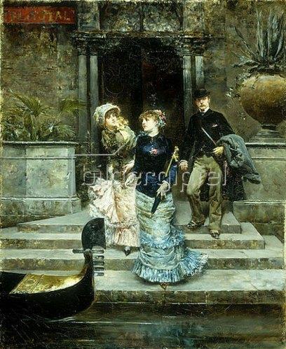 Ludovico Marchetti: Beim Verlassen des Hotels Royal in Venedig. 1881