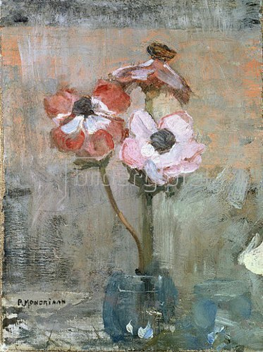 Piet Mondrian: Anemonen in Glasvase. Um 1906