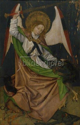 Hans Pleydenwurff: Hofer Altar. Erzengel Michael tötet den Drachen