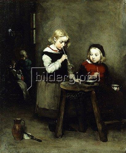 Théodule Augustin Ribot: Kinder beim Seifenblasenspiel.