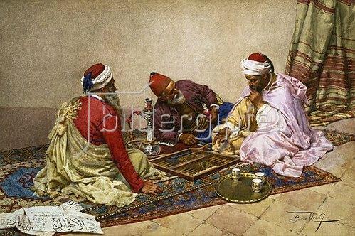 Giulio Rosati: Araber spielen Back-Gammon.