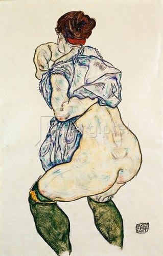 Egon Schiele: Weiblicher Halbakt mit grünen Strümpfen. 1917.