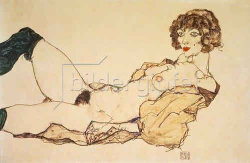 Egon Schiele: Liegender Akt mit grünen Strümpfen. 1914