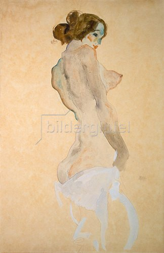 Egon Schiele: Stehender Akt mit weissem Hemd. 1912.