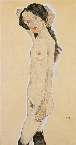 Egon Schiele: Stehender Akt mit über den Kopf gelegtem Arm. 1911.