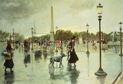 Georges Stein: Auf der Place de la Concorde bei Regen.