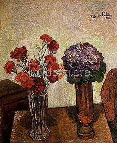 Suzanne Valadon: Zwei Vasen mit Nelken und Veilchen. 1926.