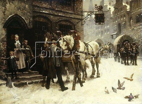 Harry Jochmus: Pferdefüttern vor einem Gasthof im Winter.