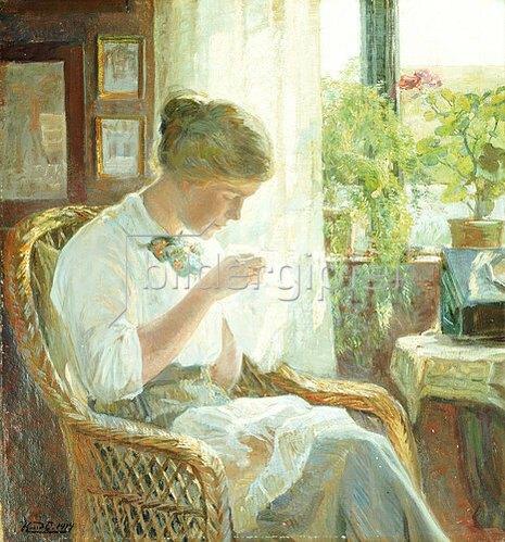 Knud Erik Larsen: Nähende junge Frau am Fenster. 1914