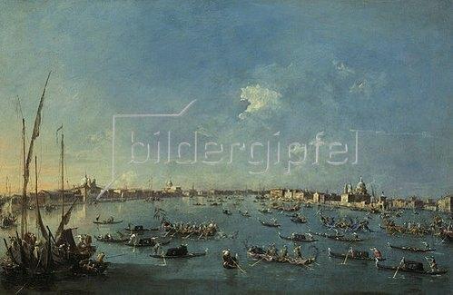 Francesco Guardi: Regatta auf dem Canale della Giudecca. Lwd., 61 x 93 cm.