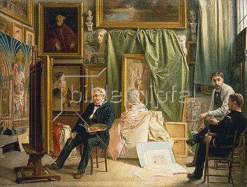 Henri Mottez: Im Atelier des Künstlers Victor Mottez, Vater des Malers Henri Mottez. Um 1890-95