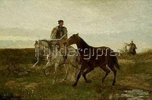 Mihály Munkácsy: Ungarische Reiter auf dem abendlichen Heimweg.