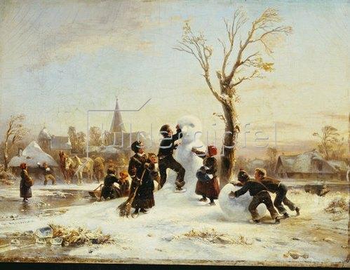Wilhelm Alexander Meyerheim: Der Schneemann im Dorf. 1853