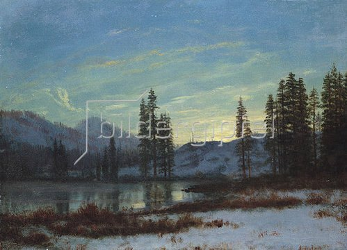 Albert Bierstadt: Winterlandschaft in den Rocky Mountains.