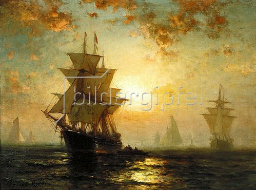 Edward Moran: Segelschiffe bei Sonnenuntergang.