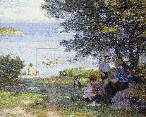 Edward Henry Potthast: Mütter mit Kindern am schattigen Ufer.