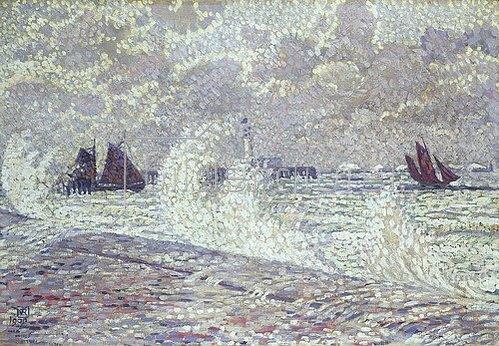 Theo van Rysselberghe: Stürmische See bei Boulogne-sur-Mer. 1900.