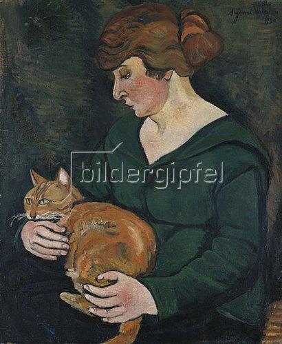 Suzanne Valadon: Frau mit Katze (Louson et Raminow). 1920
