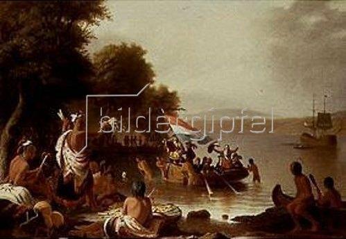 Die Landung Von Henry Hudson 1608 Bei Verplanck Peekskillny Von