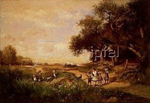 Alfred Wordsworth Thompson: Landschaft mit Kindern und herannahendem Zug.