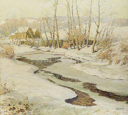 Ernest Albert: Mühlenbach im Winter.