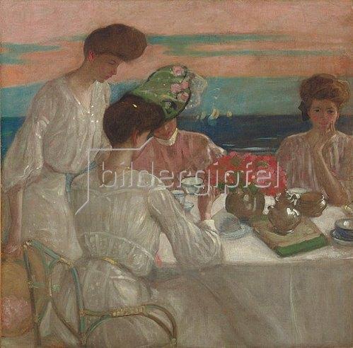 Frederick Karl Frieseke: Damen beim Nachmittagstee auf der Terrasse.