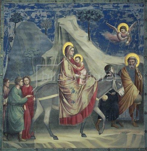 Giotto di Bondone: Die Flucht nach Ägypten. 1303/1305. Fresko.