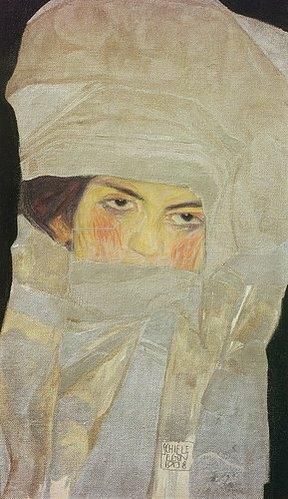 Egon Schiele: Melanie, die Schwester des Künstlers, mit silberfarbenen Tüchern. 1908.