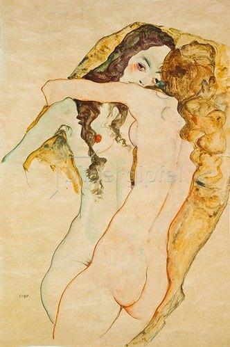 Egon Schiele: Zwei Frauen in Umarmung. 1911.