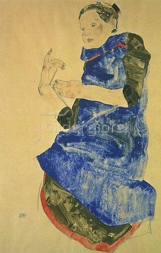 Egon Schiele: Mädchen mit blauer Schürze. 1912.