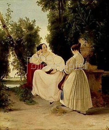 Carl Blechen: Zwei Damen im Park. Gegen 1827.