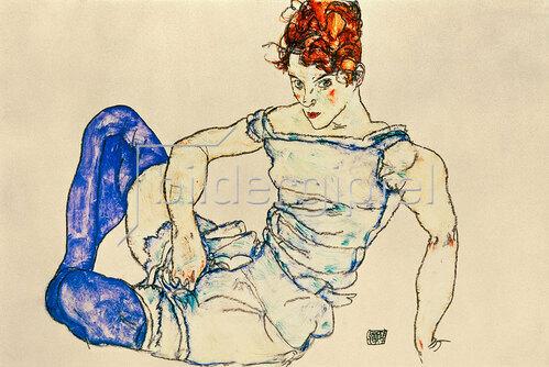 Egon Schiele: Sitzende Frau mit violetten Strümpfen. 1917.