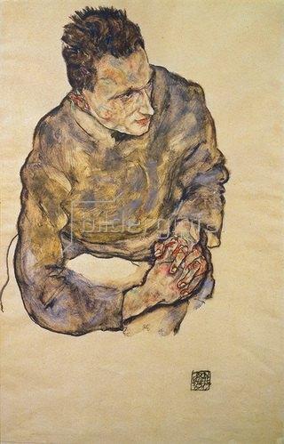 Egon Schiele: Bildnis Karl Grünwald mit verschränkten Händen. 1917.