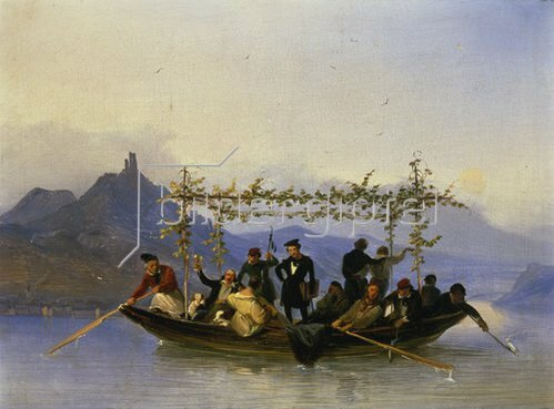 Caspar Scheuren: Überfahrt der Studenten am Drachenfels, 1839.
