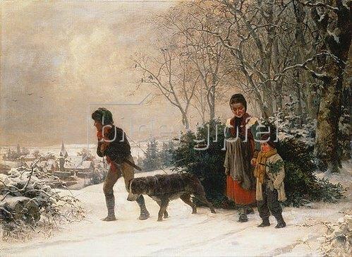 Ernst Bosch: Vor Weihnachten. 1868.