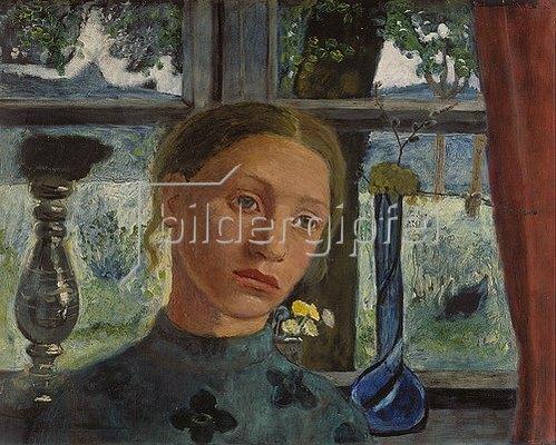 Paula Modersohn-Becker: Mädchenkopf vor einem Fenster.