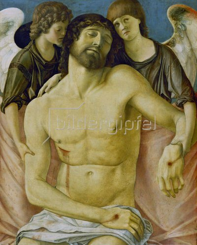 Giovanni Bellini: Der tote Christus, von zwei trauernden Engeln, gestützt. Um 1480/85