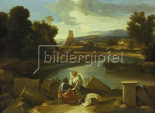 Nicolas Poussin: Landschaft mit dem Evangelisten Matthäus. 1640