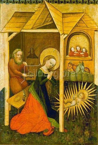 unbekannter deutscher Meister: Tafelbild aus Werningsleben: Maria, Josef und das Christkind im Stall.