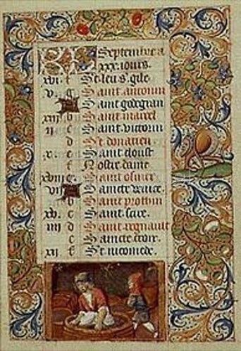 Handschrift: Der September. Aus einem französischen Stundenbuch. Memb.II 176, 9v