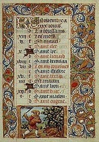 Handschrift: Der November. Aus einem französischen Stundenbuch. Memb.II 176 11v.
