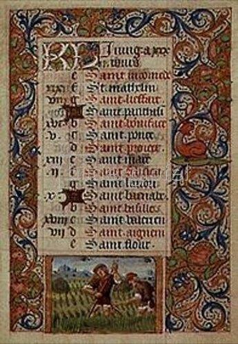 Handschrift: Der Juni. Aus einem französischen Stundenbuch. Memb.II 176, 6v.